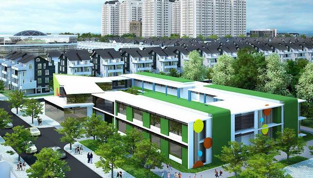 Khu quần thể trường học được bao bọc bởi cây xanh vơi các dãy liền kề xung quanh