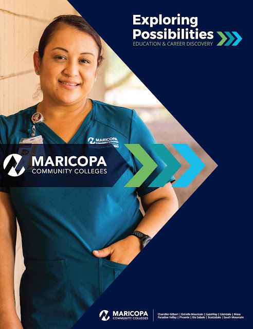 Poster for event, featuring a young female students in medical scrubs leaning against wall and smiling.  Maricopa Community Colleges logo.  Text: Exploiring Possibilities Education and Career Discovery