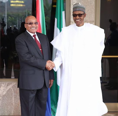 President Buhari of Nigeria and President Zuma in Abuja Nigeria