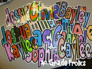4th Grade Frolics name posters using Grobold font