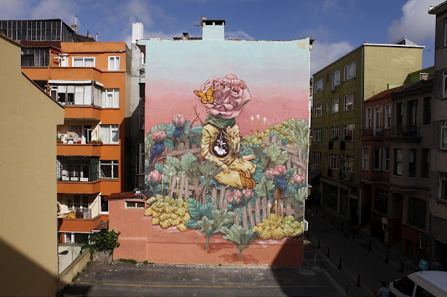 """After painting mostly within his homeland's borders, it is great to see Russian artist Rustam Qbic taking part in the Mural Istanbul festival. During his recent stay in Istanbul, he painted an impressive piece entitled """"Miracle""""."""