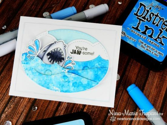 Shark Card by Nina-Marie Trapani | Shark Bites Stamp set and Die set by Newton's Nook Designs #newtonsnook #sharkweek