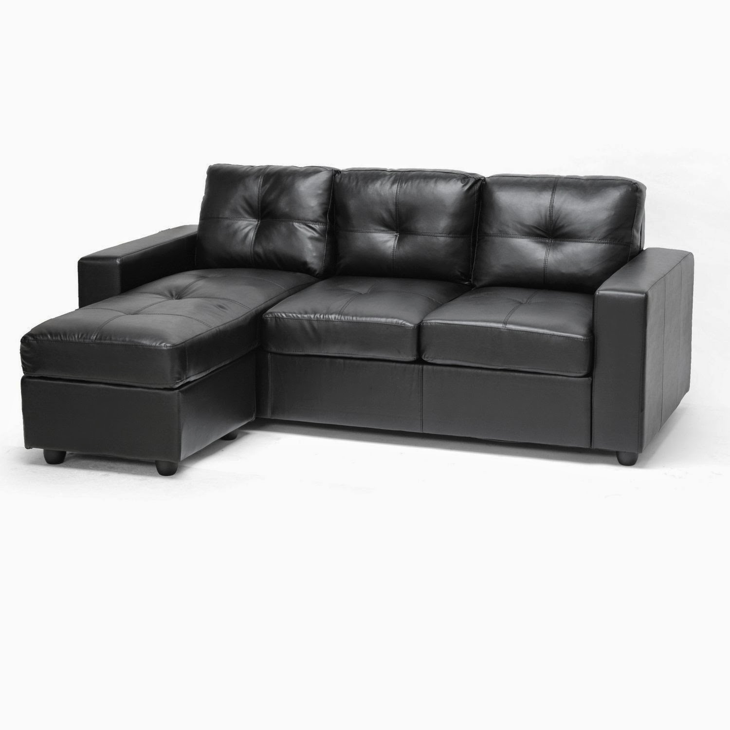 Black leather couch for Cheap black couch set