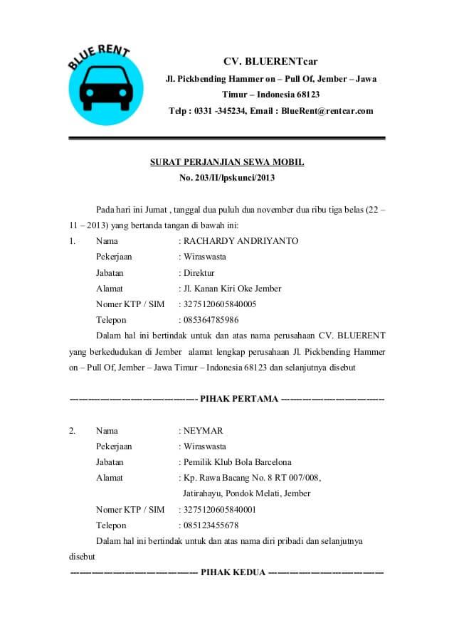 surat perjanjian sewa mobil sederhana