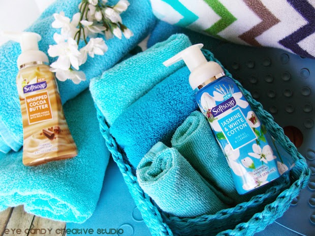 premium, foam, affordable, softsoap, flowers, tween bathroom, blue baskets