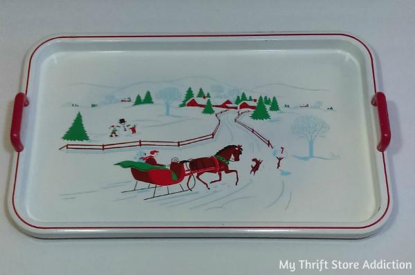 Vintage Christmas tray, Saltera Japan