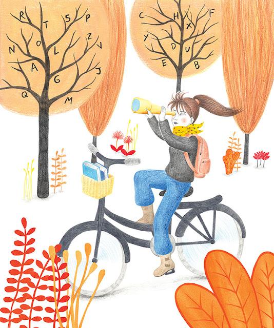 Bicicleta, explorar, chica pedaleando, bosque
