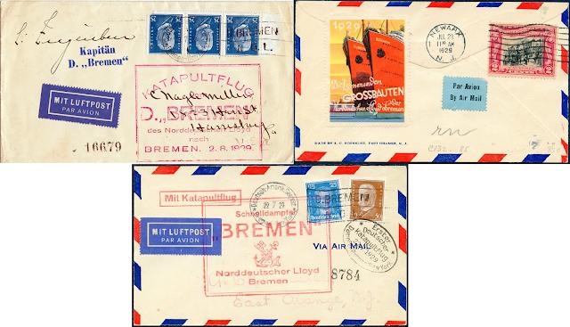 Ersttagsbriefe vom Katapult Flug der Bremen