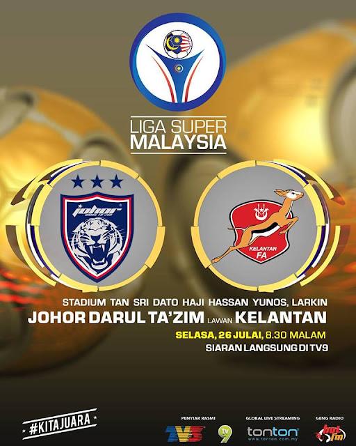 Live Streaming Keputusan JDT VS Kelantan 23.7.2016