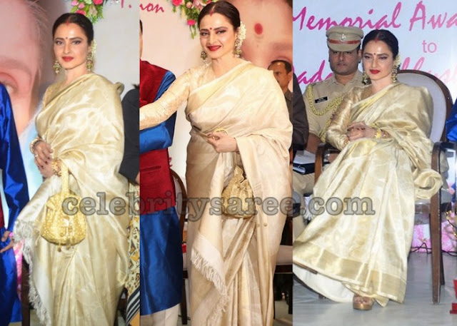 Rekha in White Uppada Saree