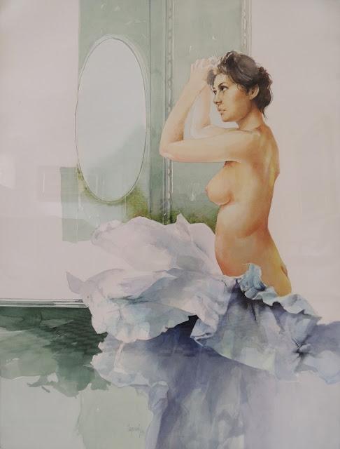 Glauco Capozzoli acuarela desnudo mujer retrato peine