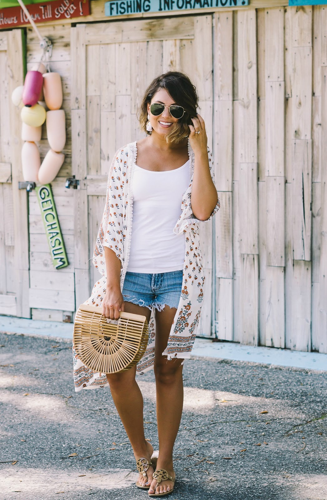 kimono outfit, tory burch millers, cult gaia