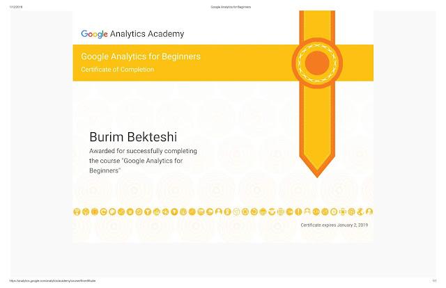 Google Analytics for Beginners - Burim Bekteshi