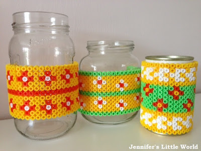 Hama bead covered pen holders from jam jars