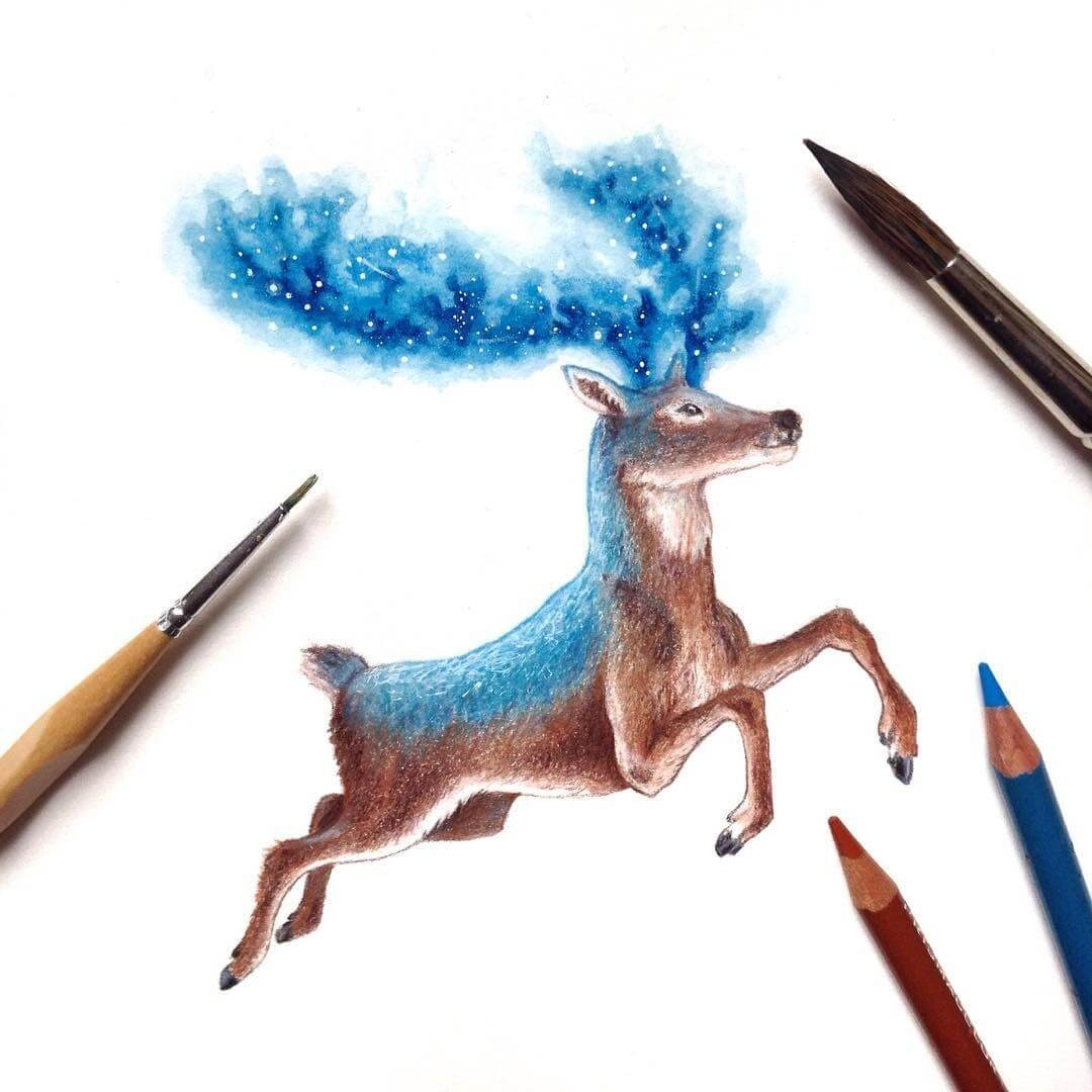 07-Deer-David-Ambarzumjan-Cosmic-Space-Fantasy-Animal-Drawings-and-Paintings-www-designstack-co
