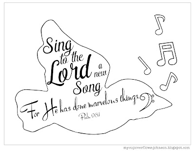 free inspirational Bible verse coloring pages Psalm 98:1