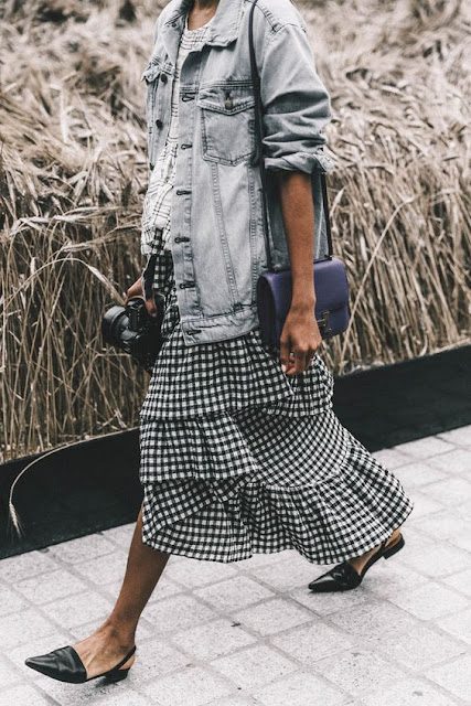 street style outfit gingham ruffle skirt and denim jacket