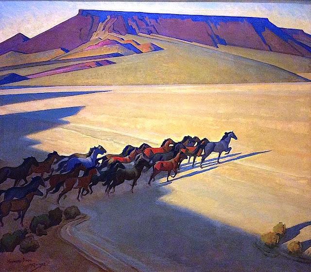 a Maynard Dixon painting of wild horses