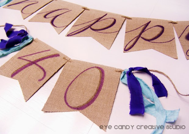 shabby chic decor for party, burlap banner, rustic decor for birthday party