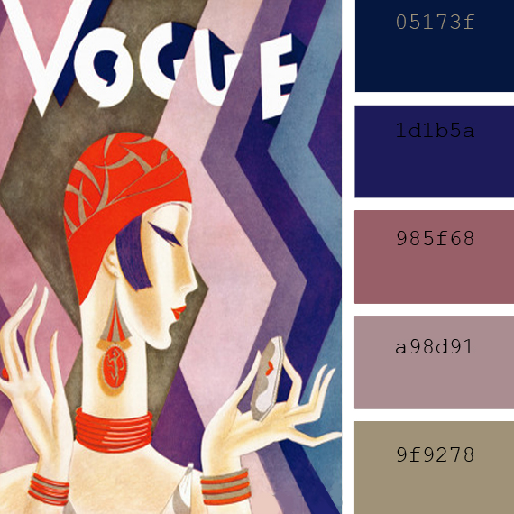 art deco color palettes, eduardo garcia benito vogue magazine cover