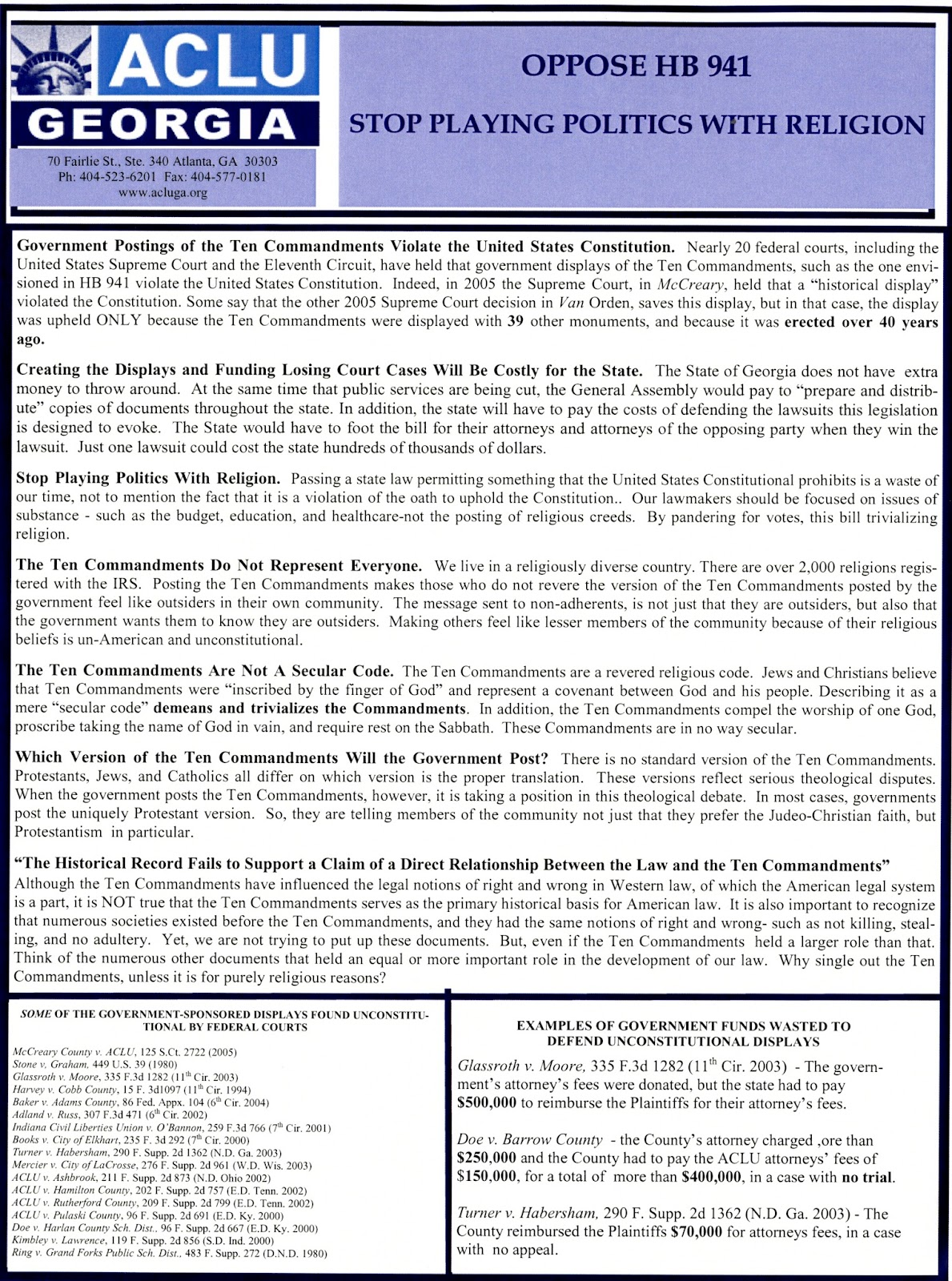 Richard b russell library for political research and studies 2016 flyer in opposition to hb 941 to allow local governments to display copies of the ten commandments ca 2006 source series iv box 2 folder 37 biocorpaavc Choice Image