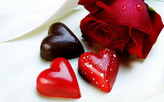 Heart Shaped Chocolate and Red Rose HD Wallpaper