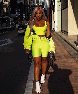 Jackie Aina neon head to toe look photos