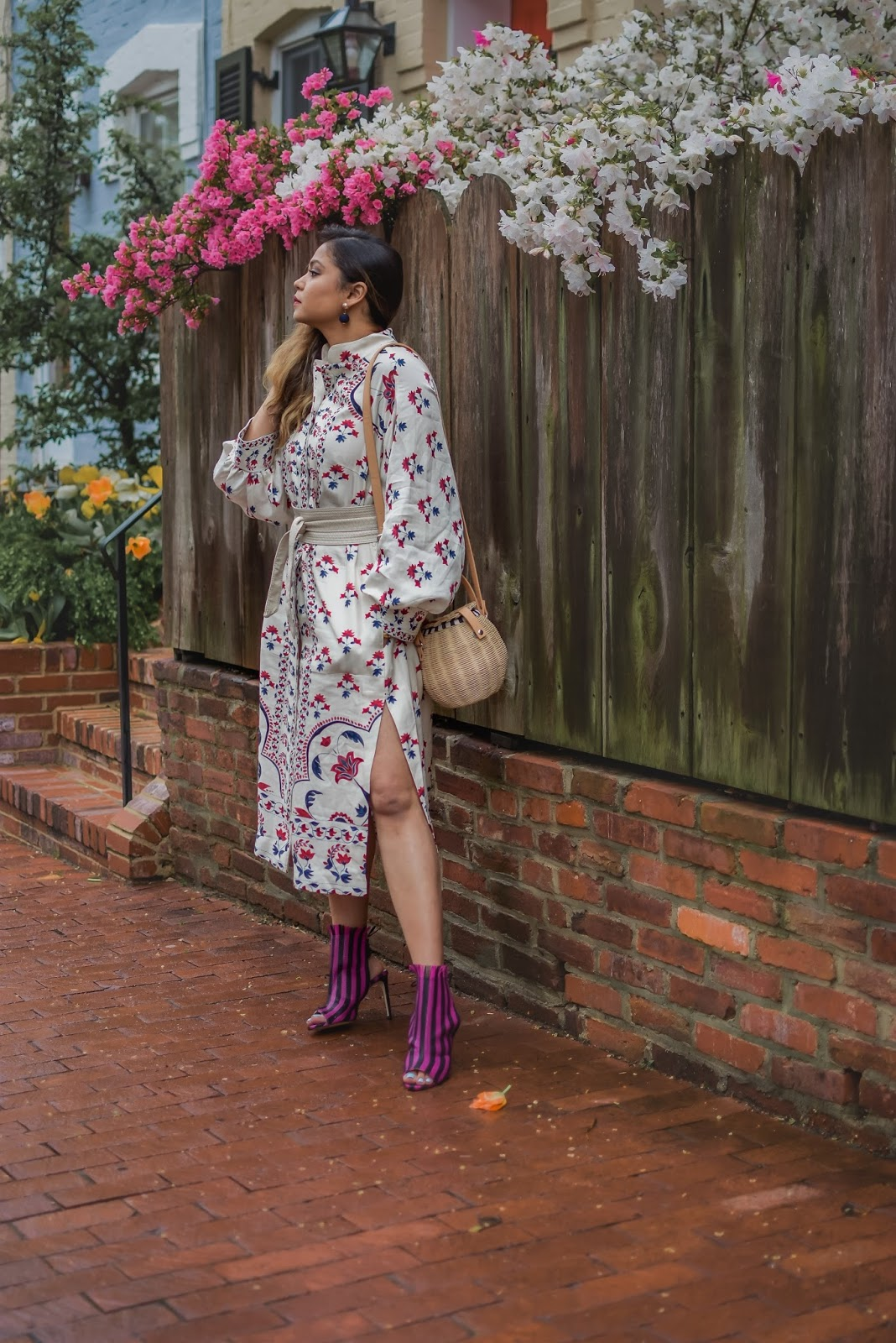 HM patterned dress, kimono dress, linen dress, printed kimono, obi belt, street style, spring look, print mixing, zara pink printed booties, wedding guest style, ratan bag, straw bag, myriad musings