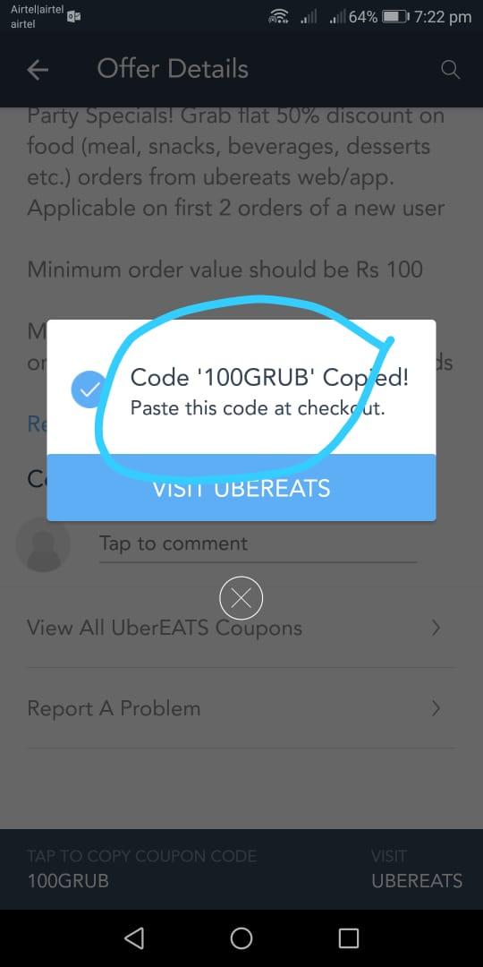 Uber airtel code