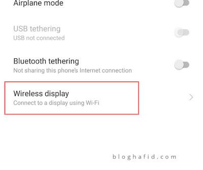 Menu Wireless display