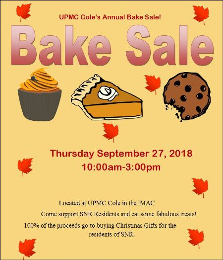 9-27 UPMC Cole's Annual Bake Sale