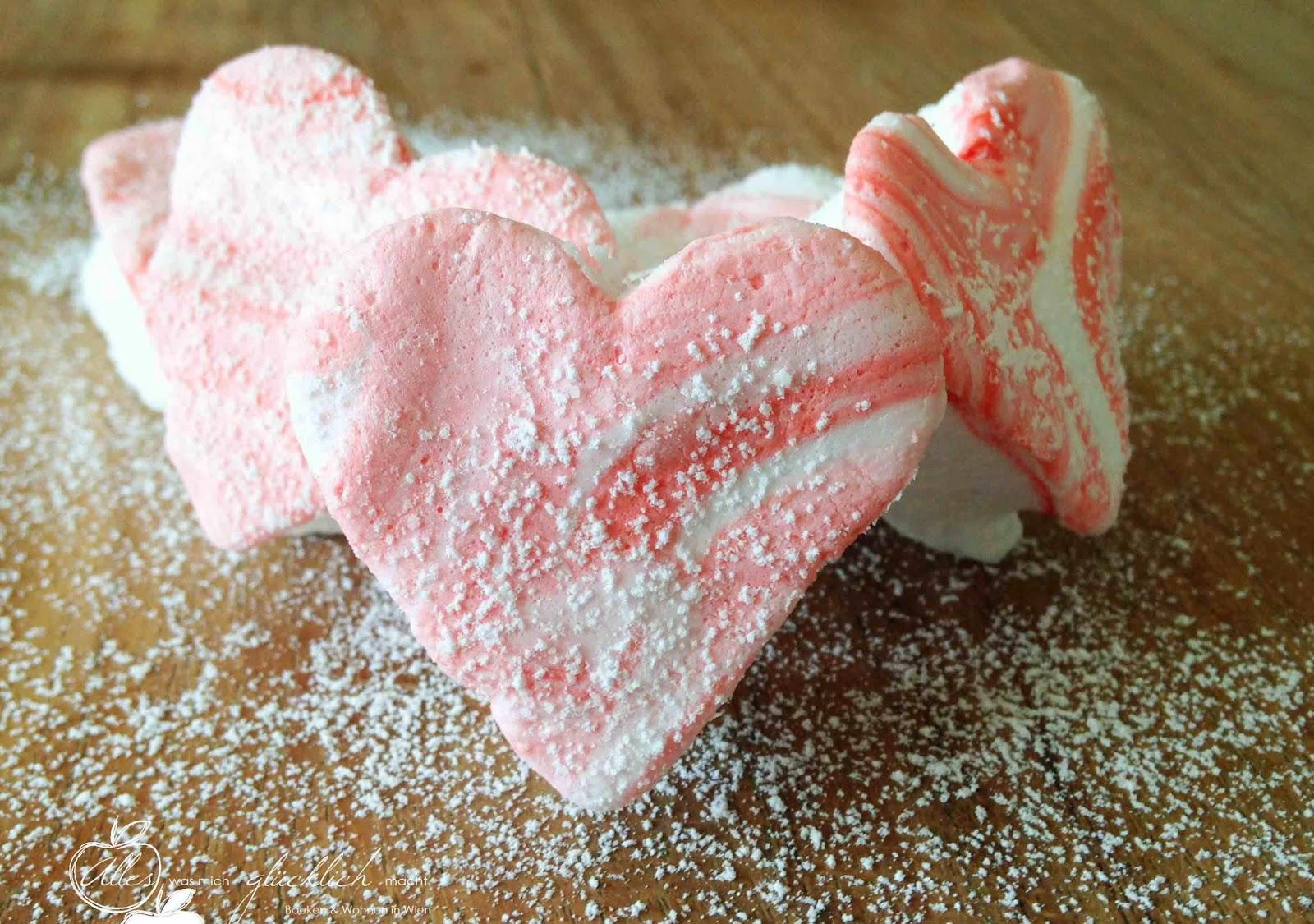 Marmorierte Marshmellow Herzen (vegan)