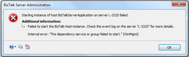 failed to start host instance