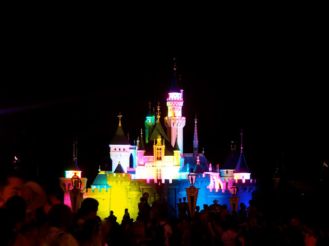 Sleeping Beauty Castle lights during Paint the Night parade | Disneyland Hong Kong