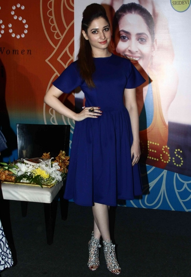 Glamours Telugu Actress Tamannaah Hot Legs Show Stills In Blue Dress