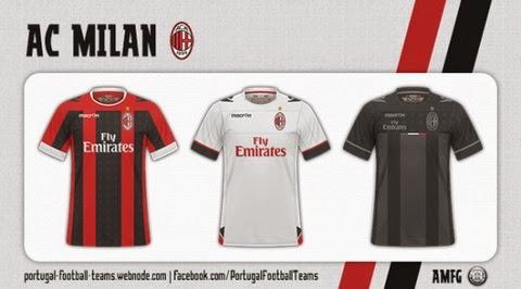 Camiseta del AC Milan Primera 2014-2015 De malla actual futurista 06c5e3e22855c