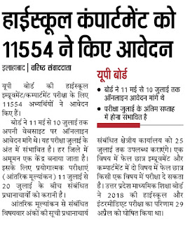 UP Board Compartment Result 2018