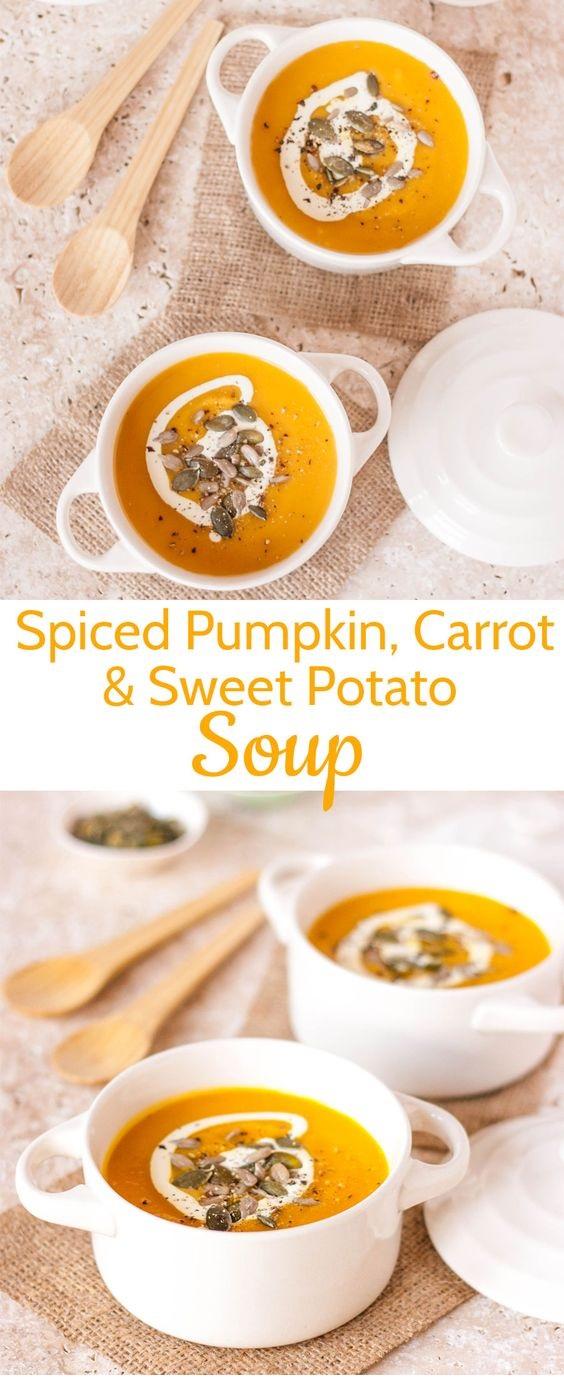Spiced Pumpkin, Carrot & Sweet Potato Soup