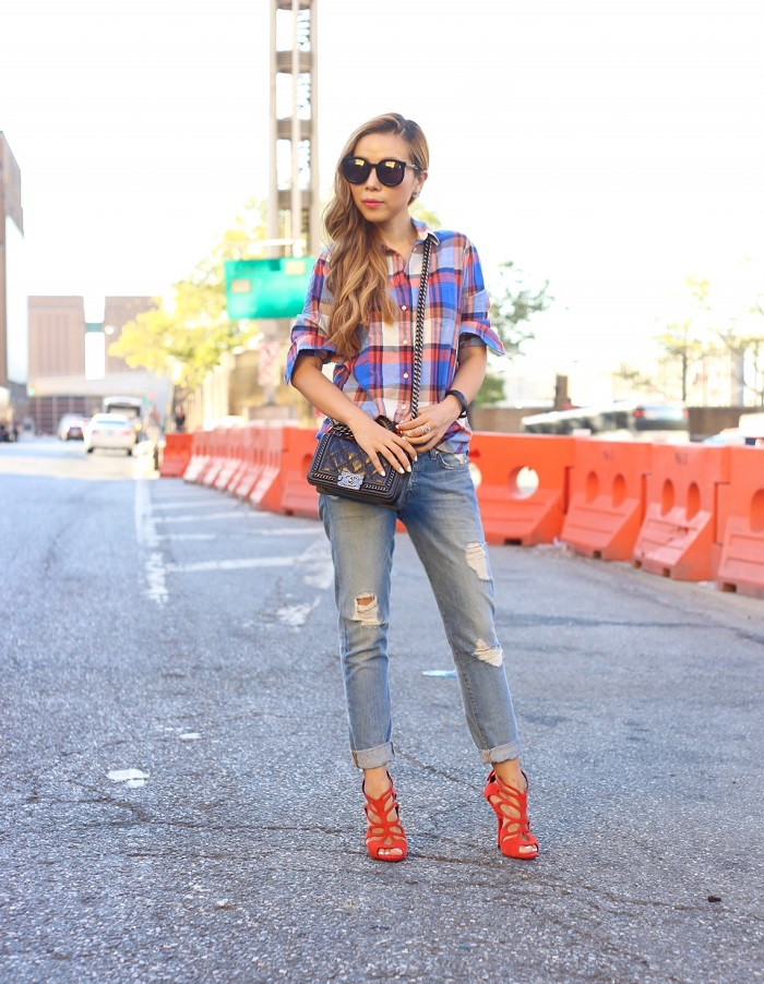 J crew plaid shirt, karen walker super duper sunglasses, boy chanel bag, 7fam boyfriend jeans, distressed jeans, hermes bracelet, fall fashion, chanel earrings, fashion blog, new york city streetstyle, nyc blogger