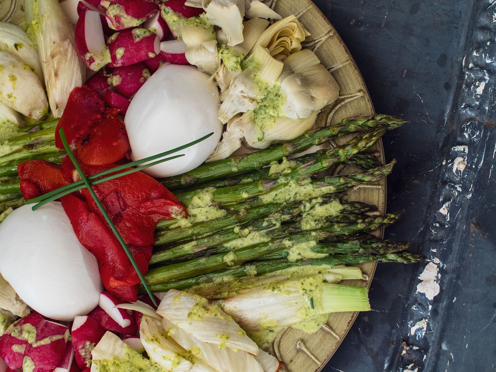 Spring Antipasto with burrata, roasted fennel, roasted asparagus | Local Food Rocks