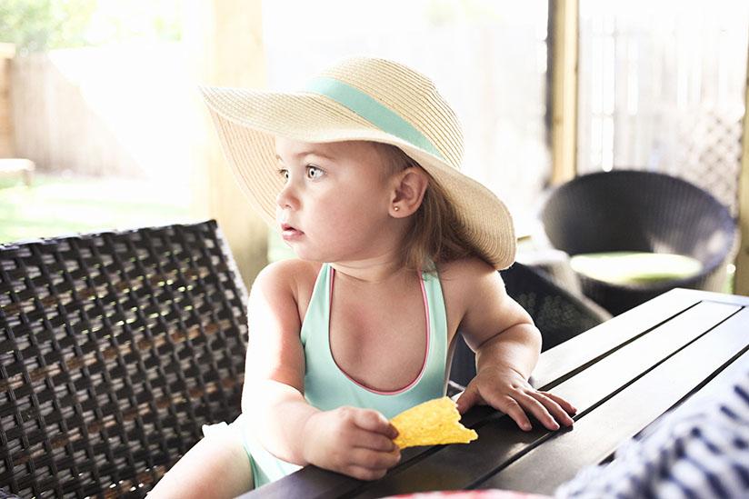 Toddler girl in reversible swimsuit by Sunuva