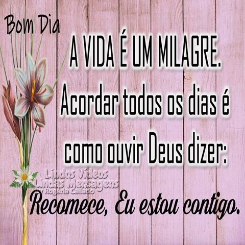 A vida é um milagre.  Acordar todos os dias é  como ouvir Deus dizer:  Recomece,   Eu estou contigo.  Bom Dia!
