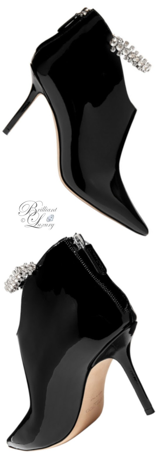 Brilliant Luxury ♦ Jimmy Choo Blaize crystal-embellished patent-leather ankle boots