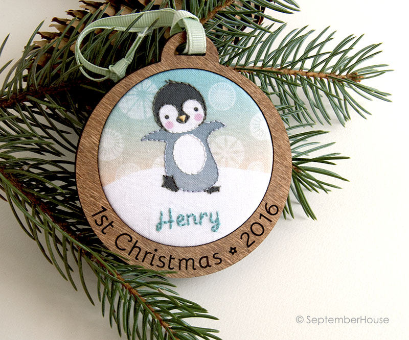 personalized babys first christmas holiday ornament penguin design