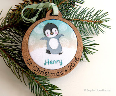 Personalized Baby's First Christmas Holiday Ornament Penguin design