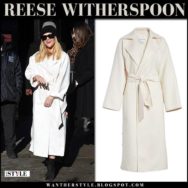 Reese Witherspoon in white belted wool coat max mara alacre winter fashion march 8