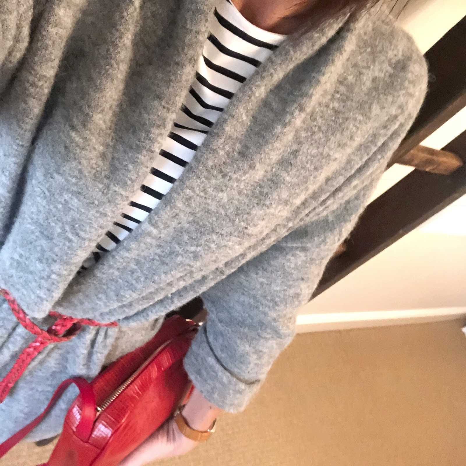 my midlife fashion, uterque mock croc crossbody bag, french sole india mock croc ballet pumps, j crew billie crop kick flare jeans, the white company essential breton long sleeve top, american vintage cardigan