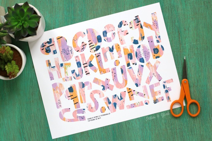 FREE Purple Abstract Wonky Alphabet
