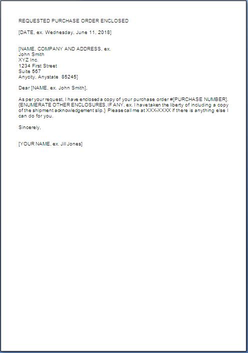 Purchase Order Cover Letter Email \u2015 Purchase Order Letter