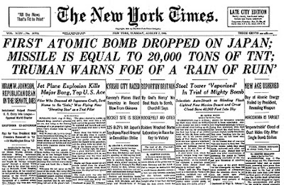 First Atomic Bomb Dropped on Japan; Missile Is Equal to 20,000 Tons of TNT; Truman Warns Foe of a 'Rain of Ruin'